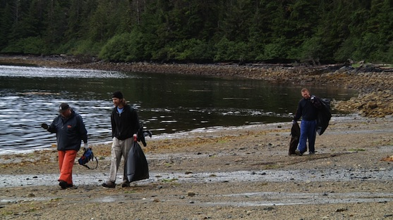 Cleaning up on a beach outside Sitka, Alaska