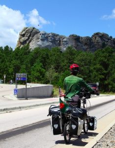 The bike in front of Mt. Rushmore
