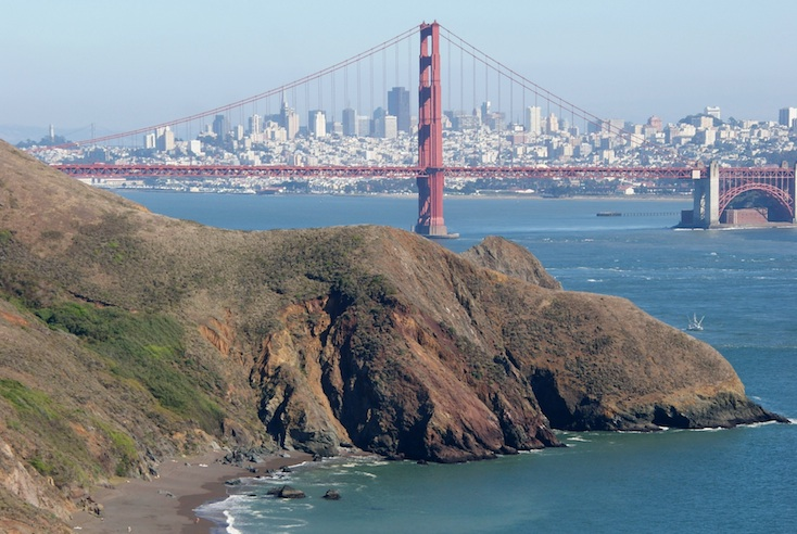 Marin headlands shoreline and Golden Gate Bridge