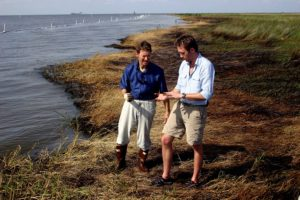 Ocean Conservancy's Dennis Takahashi-Kelso and Board Member Philippe Cousteau, tour Bay Jimmy, LA. and the surrounding marsh affected by the BP Deepwater Horizon oil disaster.