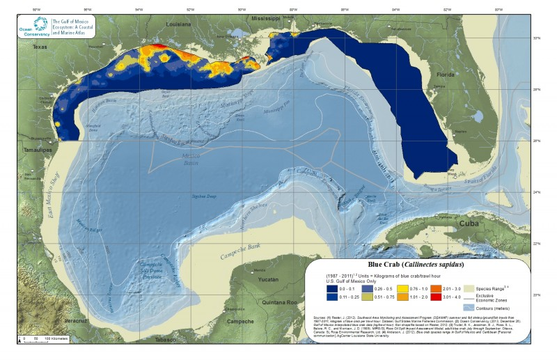 Blue crab map from Gulf Atlas