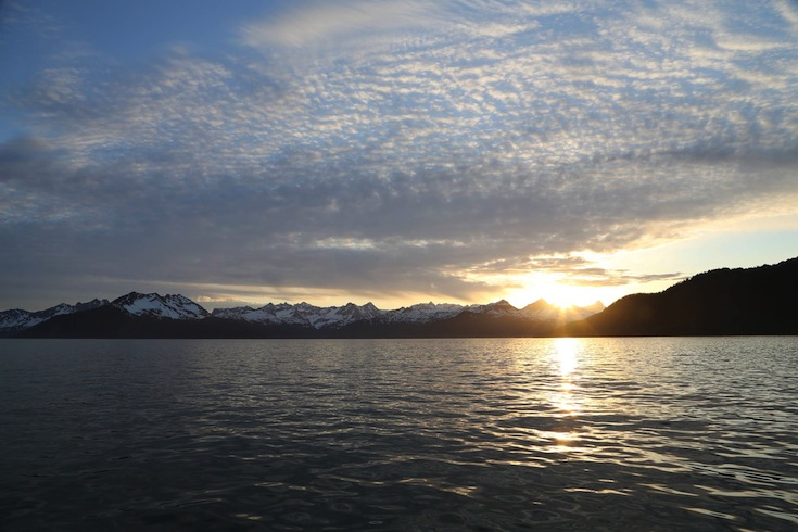 The midnight sun in Alaska.