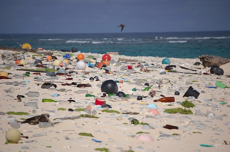 Marine debris litters a beach on Laysan Island in the Hawaiian Islands National Wildlife Refuge, where it washed ashore.